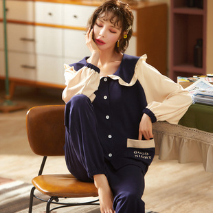 Pajamas women autumn and winter sweet and cute girl cotton long-sleeved cute cardigan plus size home service suit wholesale