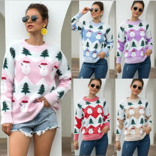 2020 autumn and winter new European and American style Amazon Christmas sweater Christmas tree snowman pullover sweater women wholesale