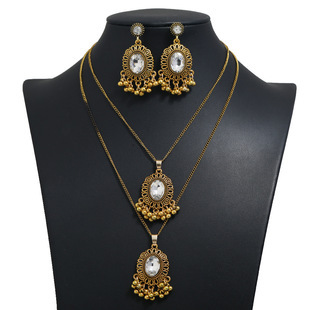 Cross-border e-commerce Indian antique gold jewelry set cross-border hot sale earrings and necklace sets