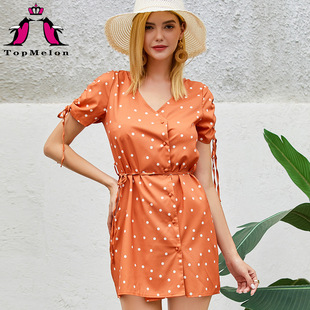 Cross-border hot-selling 2020 summer new style European and American fast fashion women's printed dress holiday leisure 18388
