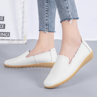 Spring and autumn wedges women's shoes peas shoes leather shoes plus size mother pregnant women shoes tassels women's singles soft soles