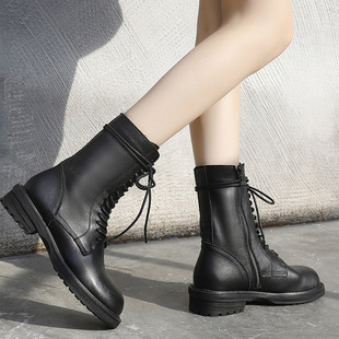 Big power power with the same paragraph ann Martin boots women 2020 autumn leather short boots non-slip natural roll mid-tube female boots winter