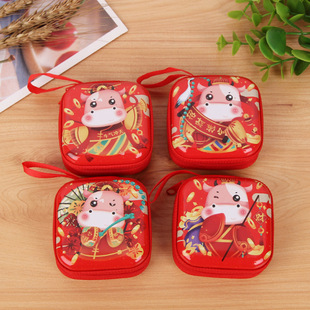 2021 new year earphone storage cute wallet coin ladies wallet round square tinplate coin purse