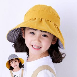 Children's double-sided hollow sunscreen hat, baby sun hat, large brim basin hat, anti-ultraviolet outdoor fisherman hat wholesale