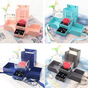 Blue Double Open Gift Box Rose Jewelry Box Preserved Flower Gift Box Bow Necklace Pendant Box Ring Box