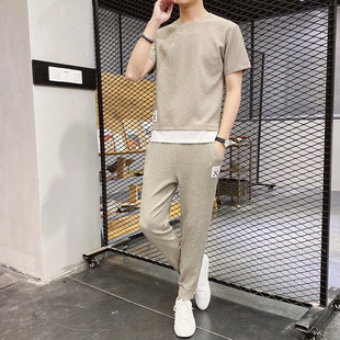 Sportswear men's summer ice silk short-sleeved casual suit 2020 new trend summer clothes handsome and versatile