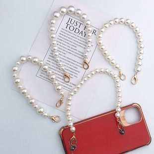 New diy mobile phone case jewelry pearl hand chain pearl bag chain tide female mobile phone case drop crystal hanging chain