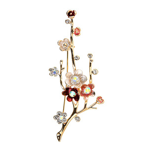 Korean version of the golden retro elegant flower corsage, all-match fashion alloy brooch with diamonds, women's clothes and accessories