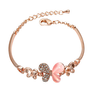Korean version of the new cross-border pink butterfly bracelet women's gold-plated jewelry explosive products sweet simple diamond bracelet wholesale
