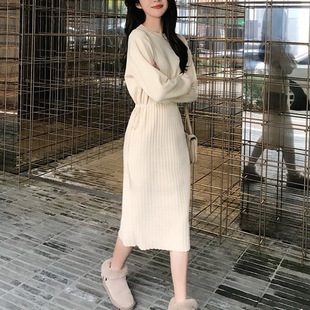 2020 autumn and winter new style dress loose outside through the knee sweater dress retro waist lace knitted dress