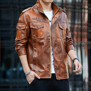 Foreign trade cross-border 2020 new autumn and winter plus velvet jacket flying PU leather jacket Slim tough male youth leather jacket