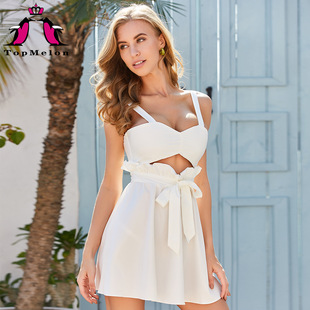 Cross-border hot-selling 2020 spring and summer new style princess style ruffled sling holiday dress dress 18469