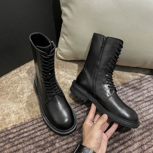 Ann Martin boots leather cowhide lace-up flat side zipper British style mid-tube boots summer thin knight boots