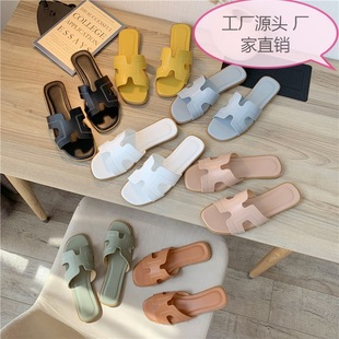 European station slippers women summer fashion outer wear 2019 new flat beach shoes one-word sandals and slippers sandals and slippers women