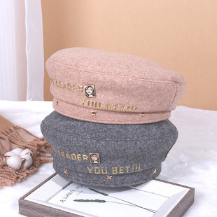 Golden letter portrait beret autumn and winter women's thick British net red same style Japanese bud painter hat
