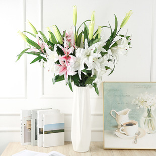 Artificial lily, silk cloth fake flower, wedding home decoration, 3 sweetheart perfume lily factory wholesale