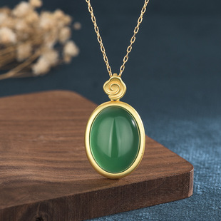 New ladies style design Nigel ancient method gold inlaid chalcedony emerald necklace pendant for mother's gift