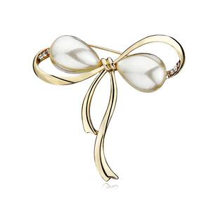 Korean version of all-match pearl bow brooch female temperament anti-empty brooch custom brooch accessories cardigan buckle pin