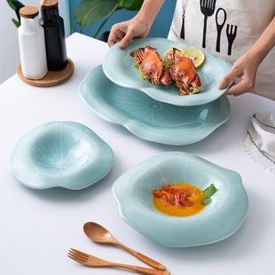 Китайский стиль посуда керамика блюдо творческий лотос блюдо блюдо отели магазин характеристика блюдо блюдо глубокая тарелка чистый красная пластина сын оптовая торговля