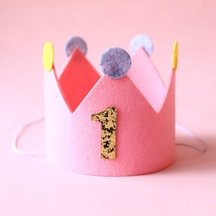 【Birthday party hat】New felt crown party hat baby birthday party hat