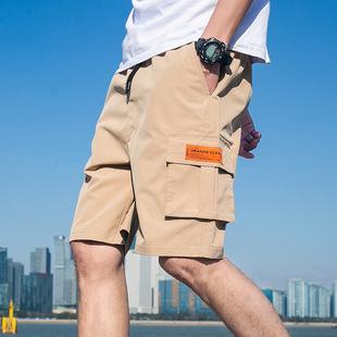 Summer men's shorts straight casual five-point pants men's mid-waist overalls men's youth non-iron mid-pants men