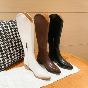 V-pointed western cowboy boots, women's high boots, but knee boots are thinner, thick heels, knight boots, leather boots