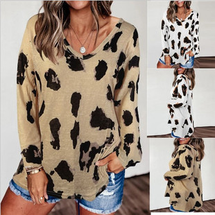 2021 spring and summer new foreign trade cross-border European and American hot style women's clothing leopard print loose short-sleeved T-shirt women's top