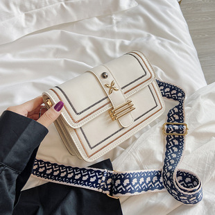Bag women's 2020 summer new Korean style trendy one-shoulder female bag ins embroidery thread wild wide shoulder strap female small square bag