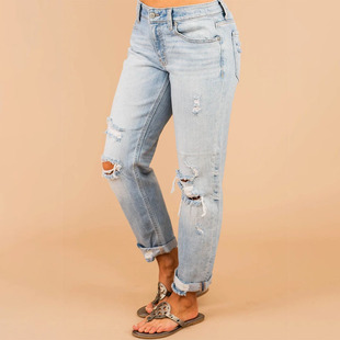 Foreign trade new style 2020 autumn Amazon su sell denim nine-point pants straight loose wide leg ripped jeans women