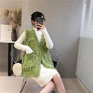 2020 Early Autumn New Products Women's Korean Style Small Fragrant Wind Tassel Knitted Vest Vest Women's Net Red Fall Outer Tops