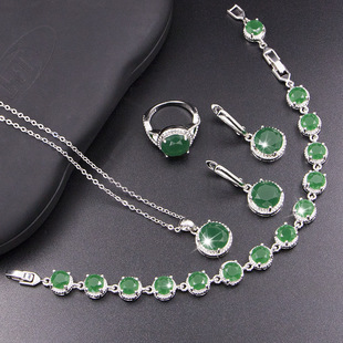 Factory direct supply, round necklace, earrings and bracelet set, imitation Malay jade inlaid chalcedony three-piece set