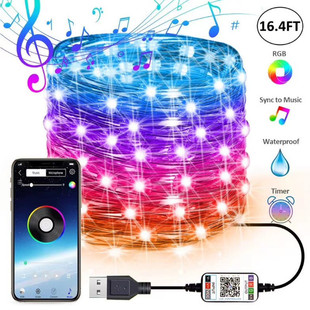 New product mobile phone APP bluetooth music light string smart bluetooth mobile phone APP copper wire light string Christmas day light string