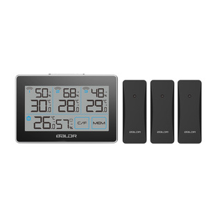 Baldr new spot three-channel wireless indoor and outdoor thermometer and hygrometer one for three comfortable smile