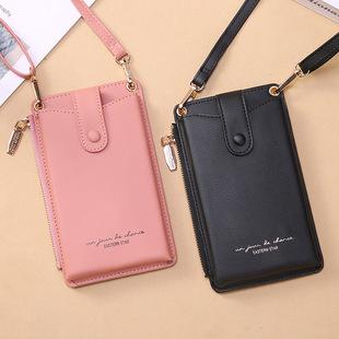 2021 new ladies mobile phone bag Korean lychee pattern fashion messenger bag zipper small coin purse wholesale