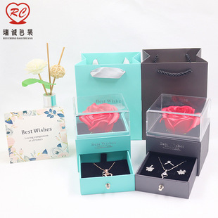 Spot Rose Flower Box Acrylic Jewelry Box Green Packaging Box T Home Blue Gift Box Necklace Pendant Box