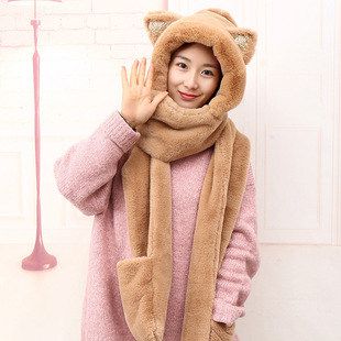 Children's plush hat cute cat ears sequined hood winter good baby warm hat scarf gloves one