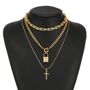 European and American cross-border exaggerated necklace jewelry Simple lock pendant necklace retro cross alloy necklace