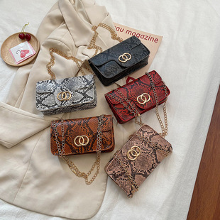Foreign trade handbags 2020 winter Europe and America retro snake pattern ring magnetic buckle chain small square bag shoulder diagonal mobile phone bag