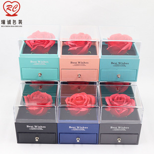Preserved Flower Box Mother's Day Gift Box Transparent Acrylic Box Earring Necklace Pendant Box Couple Ring Box