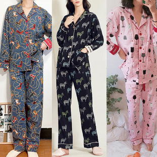 Autumn and winter thick sanded long-sleeved trousers suit Light and breathable cotton confinement clothes Ladies' home wear pajamas