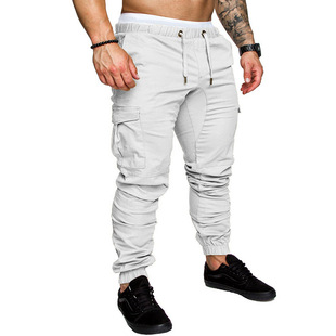 New men's casual fashion tethered elastic sports baggy pants open crotch pants 2