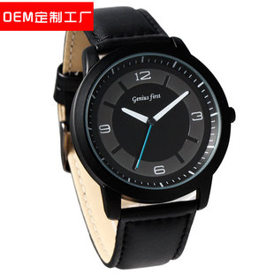 Factory processing custom men's large dial watch black belt watch foreign trade leather quartz watch