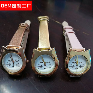 2021 new custom cartoon children's watch flower-shaped cat head watch export gift watch from Europe, America and Japan