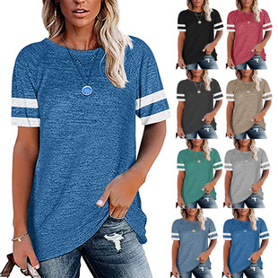 European and American cross-border women's 2021 summer new Amazon round neck color matching short-sleeved loose casual top T-shirt